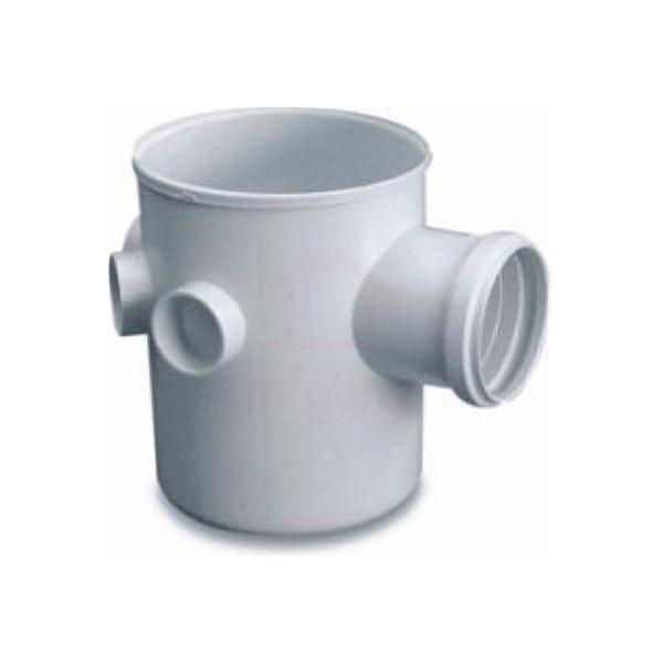 Caixa sifonada PVC 100 x 100 x 50mm com grelha redonda branca