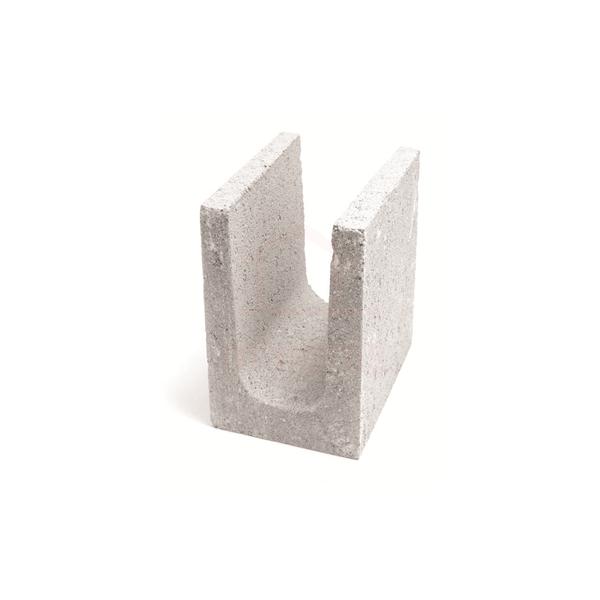 Meia canaleta concreto estrutural 14 x 19 x 19 cm