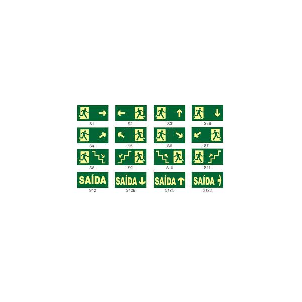 Placa de Incêndio - Indicação Rota de Fuga 13 x 26