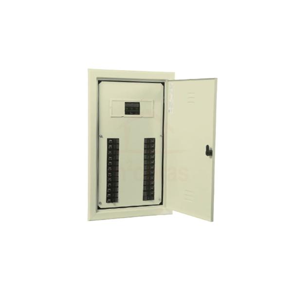 Quadro de distribuição de embutir galvanizado com barramento trifásico para 50 disjuntores